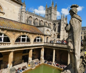 Roman baths statue and church